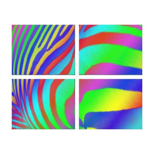 Rainbow Zebra Print Stretched Canvas Print