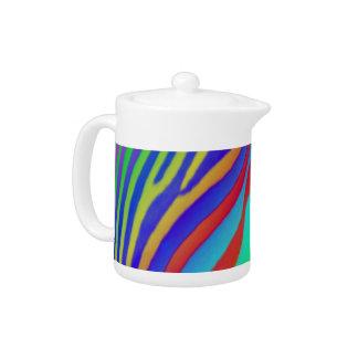 Rainbow Zebra Print Teapot