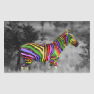 Rainbow Zebra Rectangular Sticker
