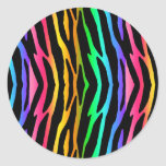 Rainbow Zebra Safari Animal Print Classic Round Sticker