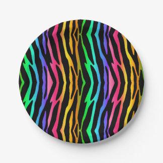 Rainbow Zebra Safari Animal Print Paper Plate
