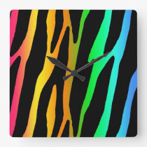Rainbow Zebra Safari Animal Print Square Wall Clock
