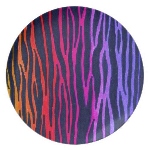 Rainbow zebra stripe plate