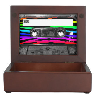 Rainbow Zebra Stripes Cassette Label Keepsake Boxes