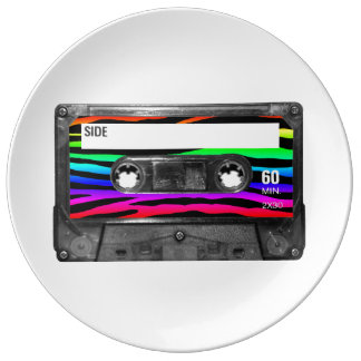 Rainbow Zebra Stripes Cassette Label Plate