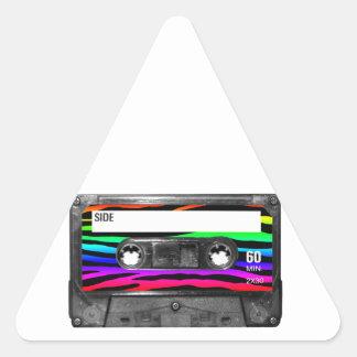 Rainbow Zebra Stripes Cassette Triangle Sticker