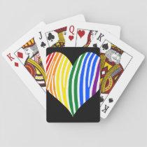 Rainbow Zebra Stripes Heart Playing Cards
