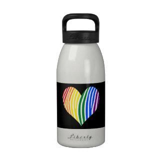 Rainbow Zebra Stripes Heart Drinking Bottle