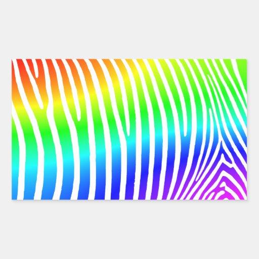 Rainbow Zebra Stripes Rectangular Sticker