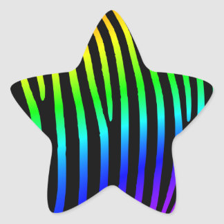 Rainbow Zebra Stripes Star Sticker
