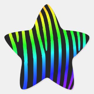 Rainbow Zebra Stripes Star Sticker