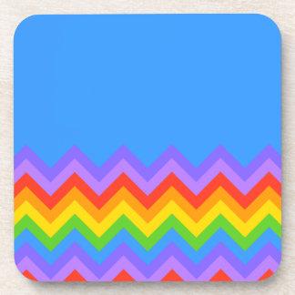 Rainbow Zig Zag Pattern. Part Plain Blue. Coaster
