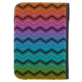Rainbow zigzag kindle case