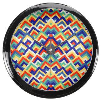 Rainbow Zigzag Symmetric Peeks Pattern Aquavista Clock