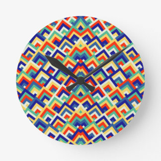 Rainbow Zigzag Symmetric Peeks Pattern Round Wall Clocks