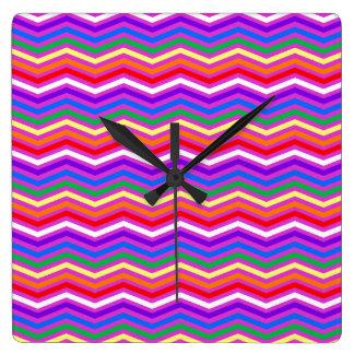 Rainbow ZigZags on Purple Square Wallclock
