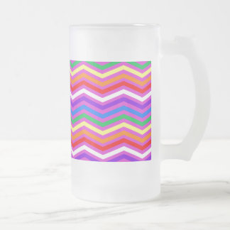 Rainbow ZigZags on Purple Frosted Glass Beer Mug
