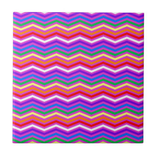 Rainbow ZigZags on Purple Small Square Tile
