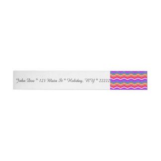 Rainbow ZigZags on Purple Wrap Around Address Label