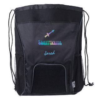 Rainbow Zodiac Sign Sagittarius Drawstring Backpack