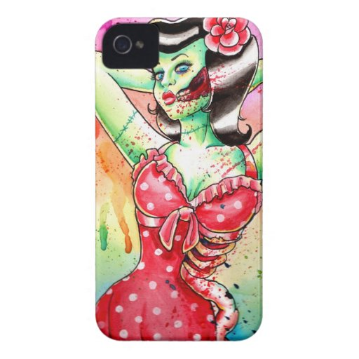 Rainbow Zombie Pin Up Girl iPhone 4 Case-Mate Case