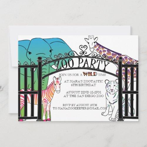 Rainbow Zoo Party invitation