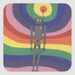 Rainbowbot Pegatina Cuadrada