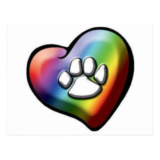 rainbowheartpawprint postales