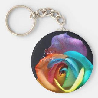rainbowrose, LoveEqually Basic Round Button Keychain