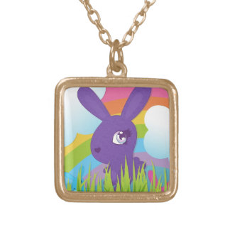 Rainbows and Bunnies Square Pendant Necklace