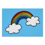 Rainbows and clouds print
