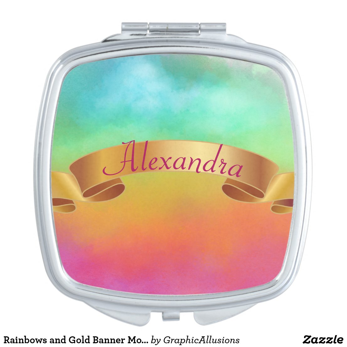 Rainbows and Gold Banner Monogram Compact Mirror