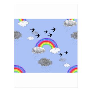 rainbows and rainclouds postcard