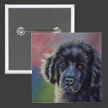 Rainbows and Sunshine - Newfoundland Dog Art 2 Inch Square Button