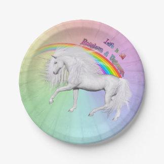 Rainbows and Unicorns Paper Plate