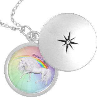 Rainbows and Unicorns Silver Plated Necklace