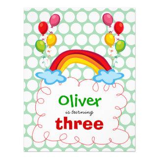 Rainbows & Balloons Kids Birthday Photo Invitation Personalized Invitations