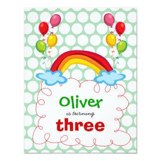Rainbows & Balloons Kids Birthday Photo Invitation