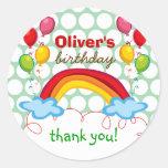 Rainbows & Balloons Kids Thank You Custom Sticker Round Sticker