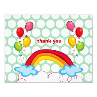 Rainbows & Balloons Kids Thank You Note Card Personalized Announcement