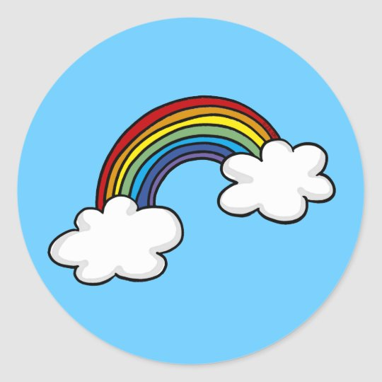 Rainbows & clouds classic round sticker