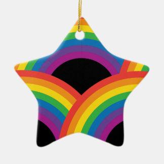 Rainbows Dark Ceramic Ornament