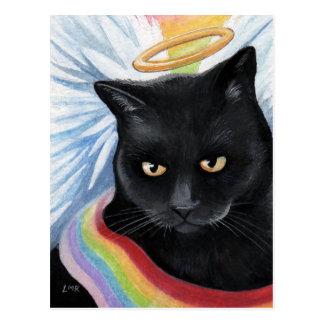 Rainbow's End Angel Cat Painting Postcard