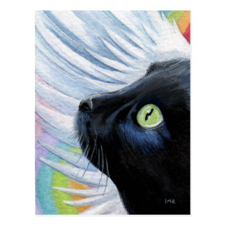 Rainbow's End Angel Cat Painting Postcard