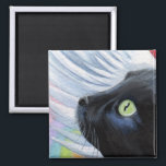 """Rainbow&#39;s End - Winged Angel Cat Magnet<br><div class=""""desc"""">This fridge magnet featuring a winged black cat is a great inexpensive gift idea that any cat enthusiast will love! Inspired by Rainbow Bridge,  the place where are dearly departed pets wait for us when they have passed on. Created from an original painting &#169;  2008 Lisa Marie Robinson</div>"""