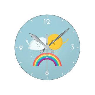 Rainbow's Family Cute Cartoon Kids' Wall Clock