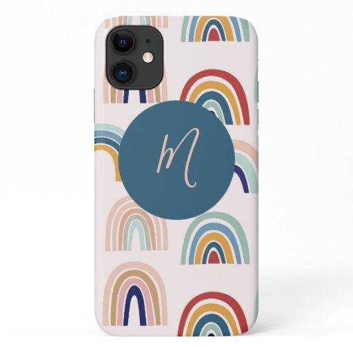 Rainbows Farmhouse Shipboard Script Monogram iPhone 11 Case