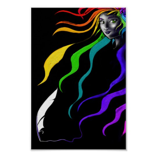 Rainbows In Her Hair Poster