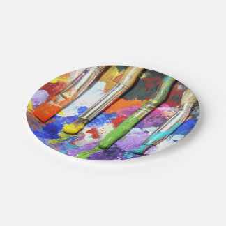 Rainbows In Progress Artist's Brushes Paper Plate