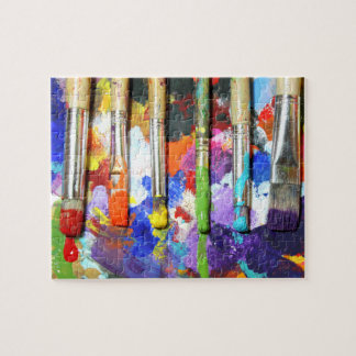 Rainbows In Progress Artist's Brushes Photography Jigsaw Puzzle